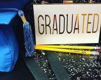 White Acrylic Purse  Graduation Clutch