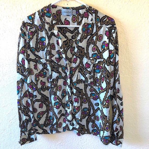 Vintage Adrianna Papell silk blouse fits like M