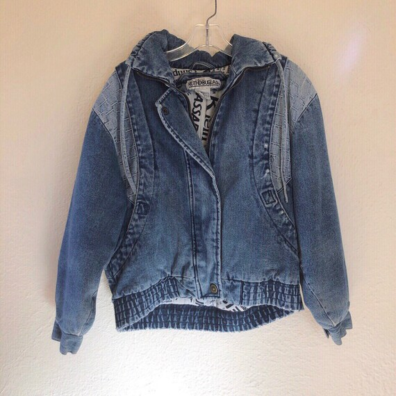 Vintage insulated denim jacket with newspaper prin