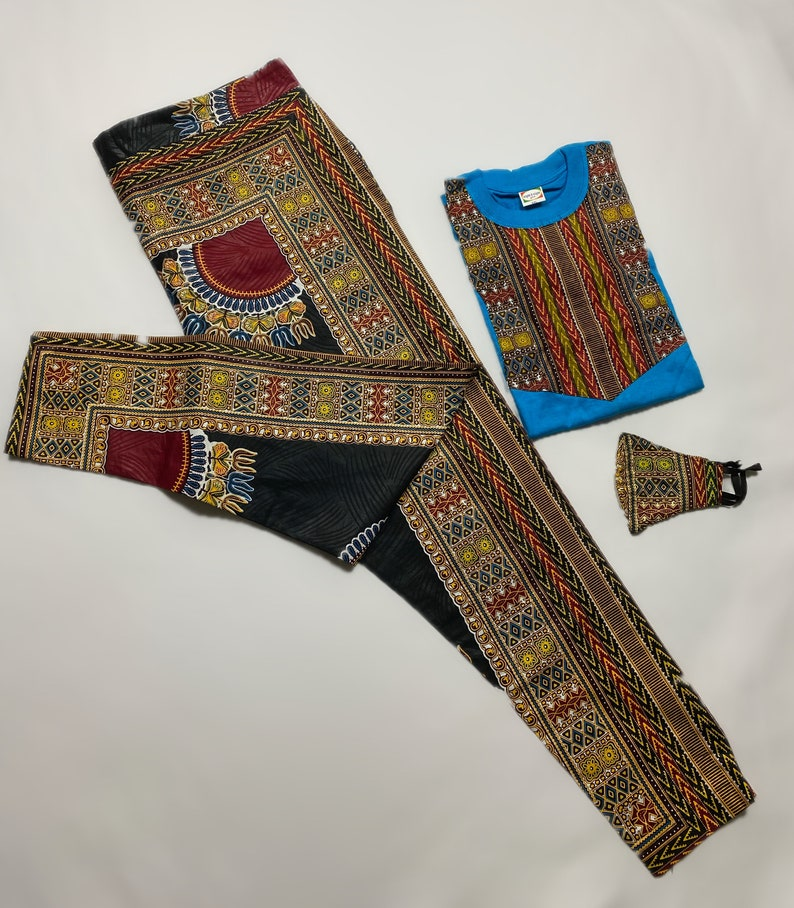 African Print Ankara Dashiki Unisex Three Piece Set
