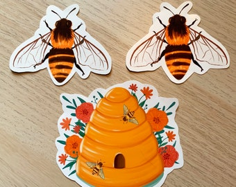 Bee and Hive sticker set