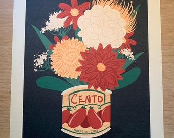 Tomato Can Floral illustration print