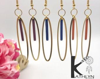 Oval dinging earrings
