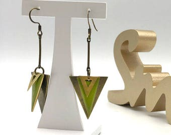 TRIANGLE earrings olive green and bronze