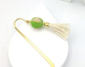Lime green woven Pearl and gold metal book mark