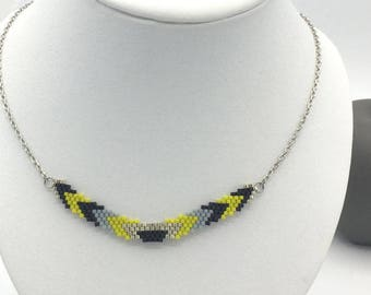 Necklace LLALI grey yellow and silver