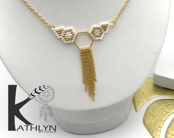 MAYA white and gold necklace