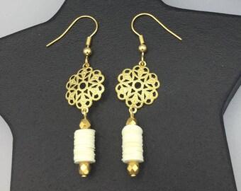 Gold and white tube earrings