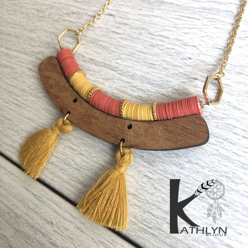 coral boho jumper necklace and mustard yellow