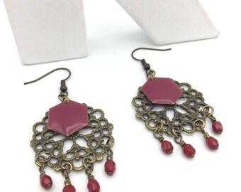 Bronze and Burgundy Red boho earrings