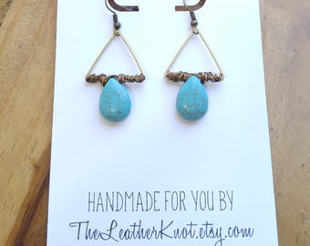 Wire Wrapped Turquoise Teardrop and Bronze Triangle Earrings, Boho Minimalist Style, Gift Earrings