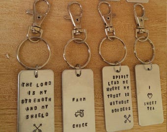 Aluminum Personalized Stamped Keychain with Clip, Key Chain, Key Ring, Keyring, Key Fob, Split Ring and Clip, Custom
