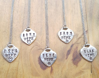 Military Wife Stamped Pewter Heart Necklace, with Stainless Steel Chain, Air Force, Coast Guard, Navy, Marines, Army, Wife Necklace