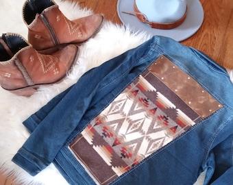 One of a Kind Medium Genuine Leather Handmade Pendleton Jean Jacket