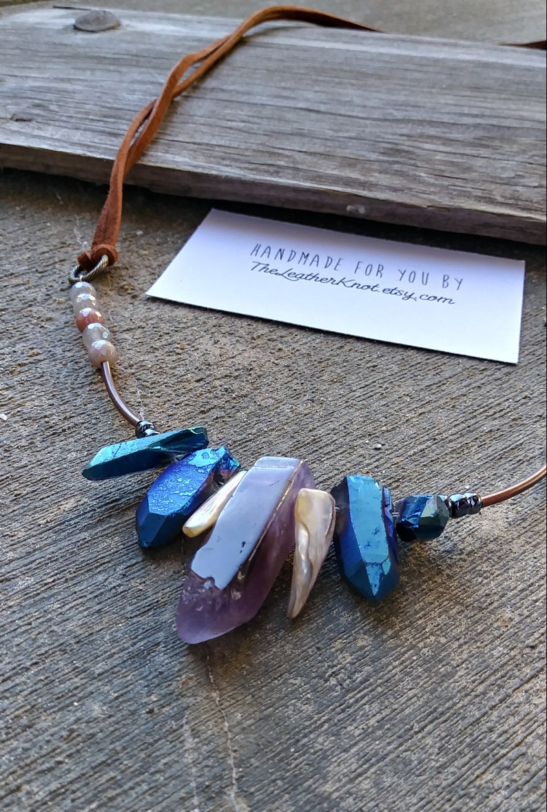 Purple Amethyst Long Leather and Stone Necklace OOAK Modern Boho Handmade Jewelry Grey Faceted Aventurine Blue Crystals