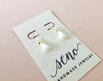 Czech glass pearl earrings, metal beads, gold filled hooks, plastic hooks available.