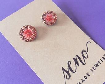 Czech glass button stud earrings.