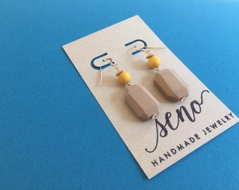 Yellow/brown wooden beads earring, gold filled hooks, plastic hooks available.