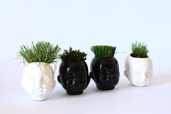 Plant pot Doll head planter office decor Salon decor Succulent Planter Best friend gift Head planter Unique Plant Pot Cache pot