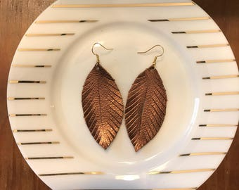 Bronze Feathers | feather earrings, leather earrings, lightweight leather earrings, bronze, fall