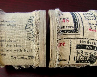 3 m rustic vintage band on roll, linen, 50 mm wide. (1 m/3.15)