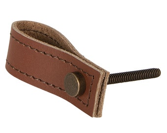 Handle, furniture handle, brown leather strap with fastening
