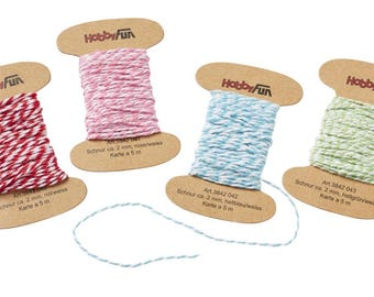 4 x 5 meters colored cord, 2 mm, yarn card, 4 different Colors. (1 m./0.35)