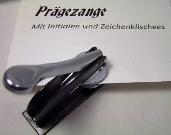 Embossing pliers with embossing cliché, metal 9 x 4.5 cm