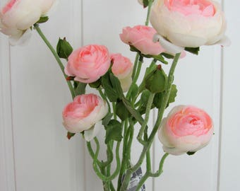 Ranunculus branch in white or pink, 48 cm long. Artificial flowers