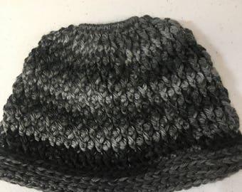 Pony Tail Holder Crochet Hat/Cap Beige OR Black (Choose ONE)