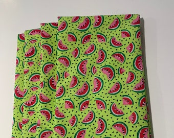 5 or 6 Small Watermelon Cloth Napkins Small Summer Napkins Set of 4 in Choice of 9 inch or 12 inch