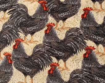 4 Black Gray Roosters Single Sided ClothFabric Dinner Napkins