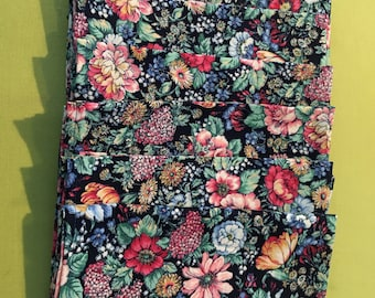 Floral Print with Black Background Cloth/Fabric Dinner Napkins (6)