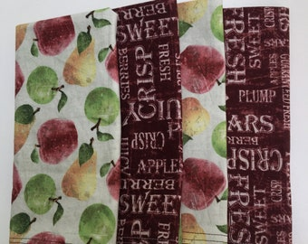 Apples and Pears DOUBLE SIDED Cloth Napkins set of 6