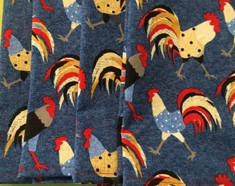 """Roosters Roosters & More Roosters on """"Denim look"""" Cloth/Fabric Dinner Napkins (4)"""