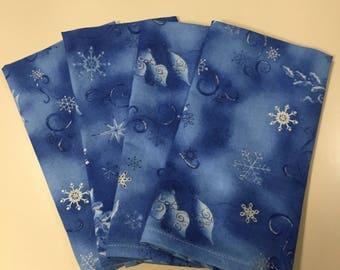 Christmas In Azure (4) Cloth Dinner Napkins