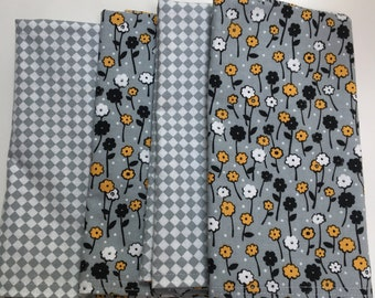 Black, Gold and White Floral on Gray Background DOUBLE SIDED Cloth Napkins Set of 4