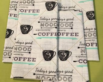 Coffee Mood  (4) Cloth Dinner Napkins