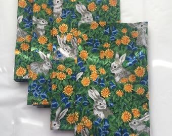 Bunnies Rabbits Flowers (4) Cloth Fabric Cotton Dinner Napkins
