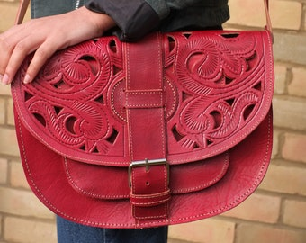 Leather Crossbody / Handbag / Shoulder Bag / Handstitched/ Red Satchel