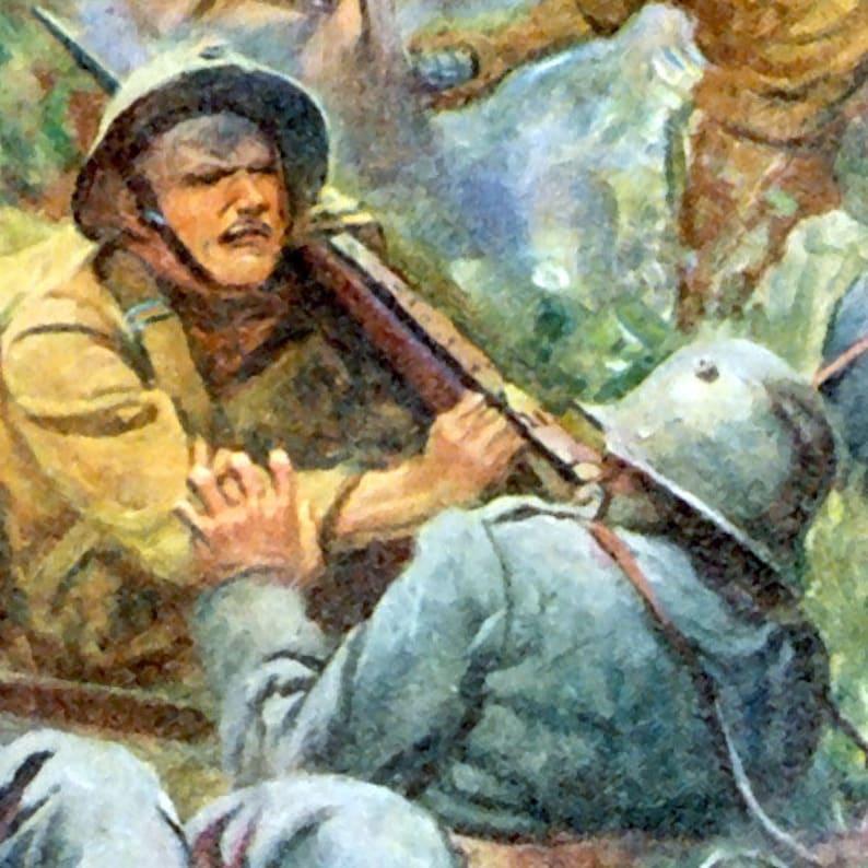 Printable Wall Art - 1919 World War 1 WW1 Belleau Wood Battle Frank  Schoonover Painting Digital Print - JPG,PNG,PDF