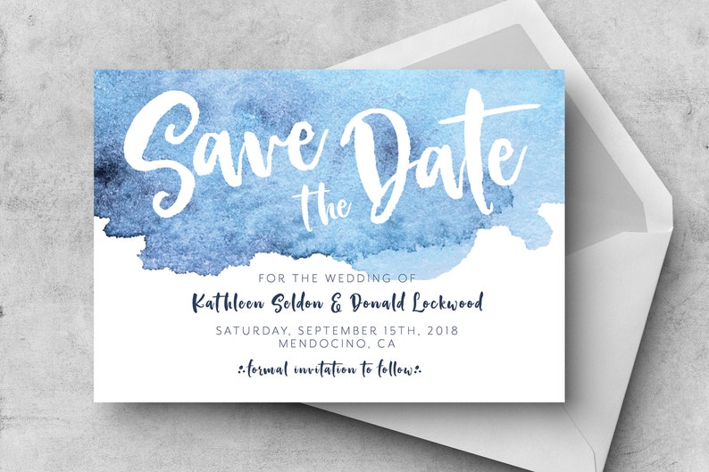 PRINTABLE Blue Watercolor Save the Date Nautical Save the Date Watercolor Save the Date Modern Save the Date