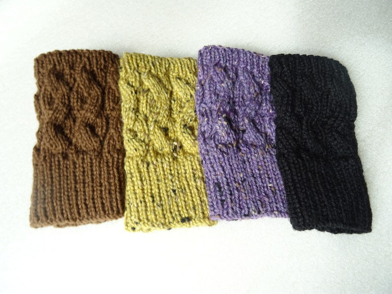 Hand Knit Cottage Heather Tweed Merino and Donegal Tweed Fingerless Gloves