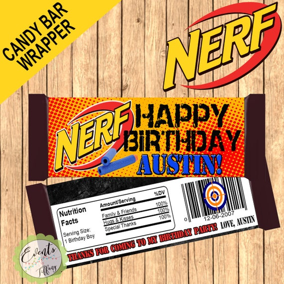 Nerf Custom Candy Bar Wrapper Nerf Custom Wrapper Nerf Etsy
