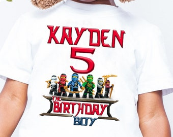 LEGO NINJAGO Birthday Shirt Ninjago Theme Party Lego Name Age Family Shirts Kids Mathching B176