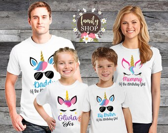205c30cf7 Unicorn Birthday Shirt, Personalized Unicorn Crown Birthday Shirt, Unicorn  Custom V-neck Shirts, Matching Birthday Family Shirts B203