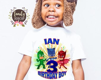 PJ Masks Custom Theme Party Name Age Pj Family Shirts Kids Birthday Shirt Tees Matching B152
