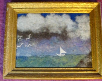 sailboat on a green sea