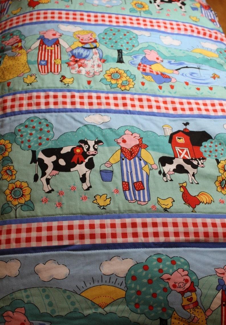 Handmade Infant Quilt 44 x 64 Farm Animals and fleece backing