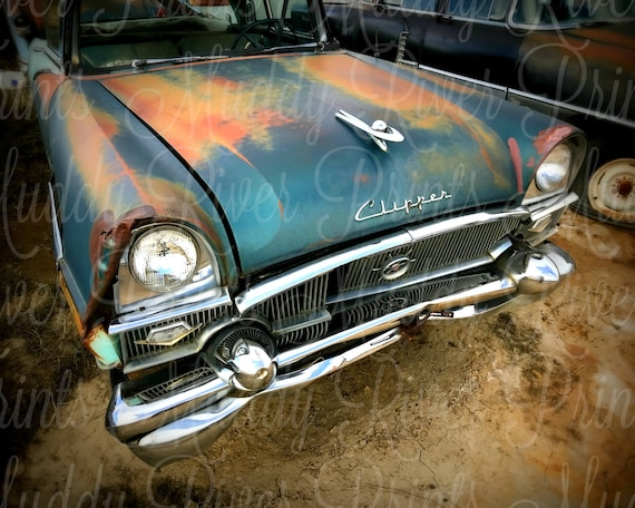 Old Black Packard Clipper In Junkyard Photography Printable Download Rustic Industrial Wall Decor Digital File Print Vintage Old Cars Rustic